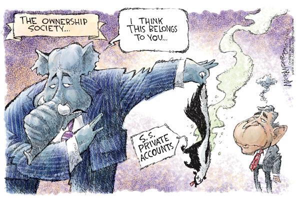 Cartoonist Nick Anderson  Nick Anderson's Editorial Cartoons 2005-04-14 social security