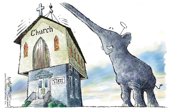 No caption.  (Republican elephant, wearing a halo, hoists a church on to the state.)