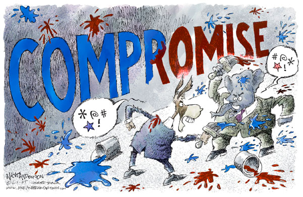 """No caption.  (Democrat and Republican throw blue and red paint at each other and, in the process, paint the word """"Compromise."""")"""