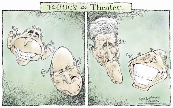 Politics as Theater.  (Two panel cartoon.  First features masks of a smiling President George W. Bush and frowning Vice President Dick Cheney.  Second  features masks of a frowning Presidential candidate John Kerry and smiling Vice Presidential candidate John Edwards.)