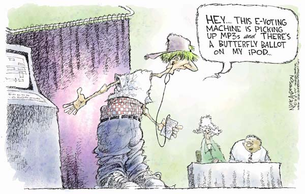 Cartoonist Nick Anderson  Nick Anderson's Editorial Cartoons 2004-08-07 electronic voting machine