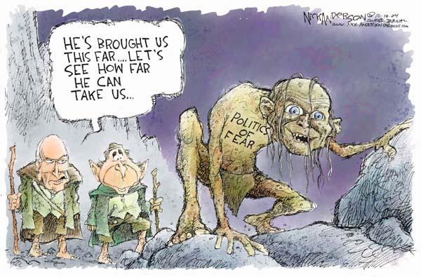 Nick Anderson  Nick Anderson's Editorial Cartoons 2004-10-19 afraid