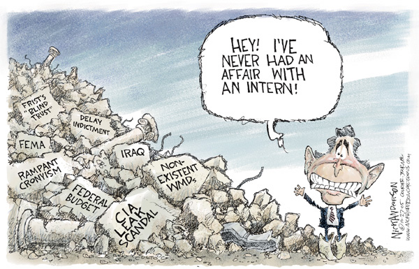 Cartoonist Nick Anderson  Nick Anderson's Editorial Cartoons 2005-10-27 George W. Bush congress