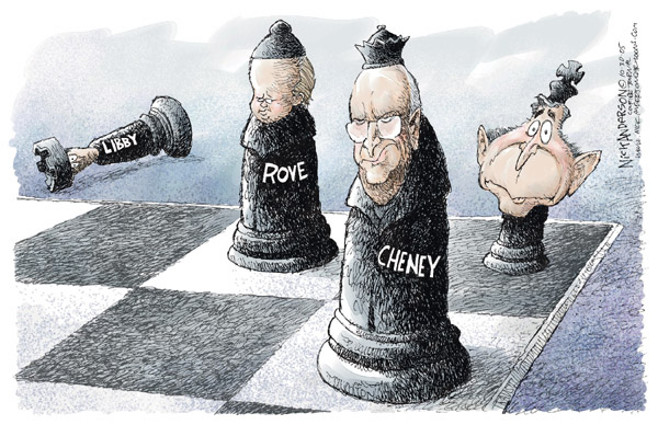 No caption.  (With Libby off of the chess board, Rove and Cheney are left as the defenders of a somewhat startled President Bush.)