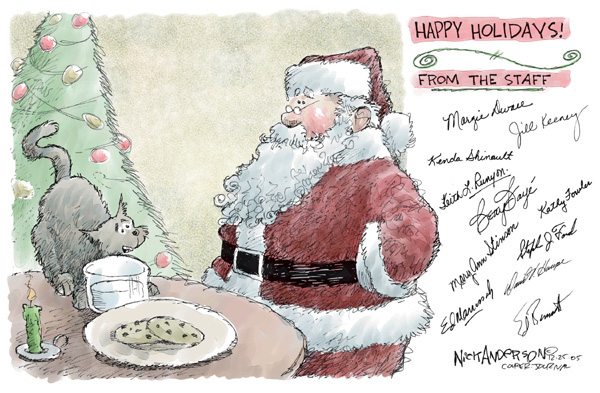 Happy Holidays from the Staff.  (Signed by members of Louisville Courier-Journal editorial staff.)