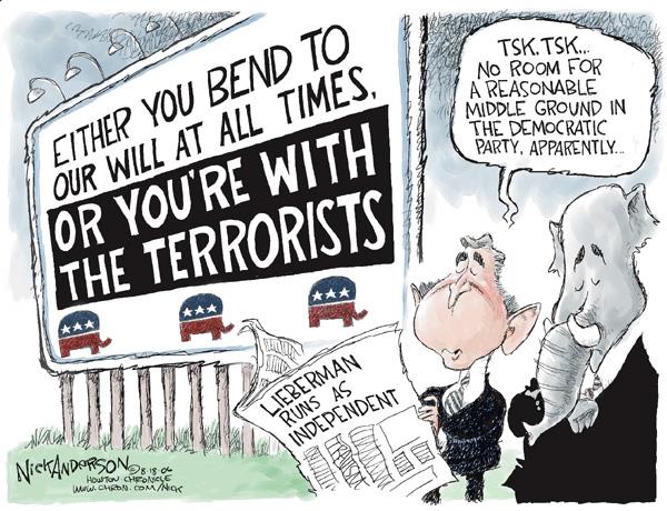 Cartoonist Nick Anderson  Nick Anderson's Editorial Cartoons 2006-08-18 democratic party