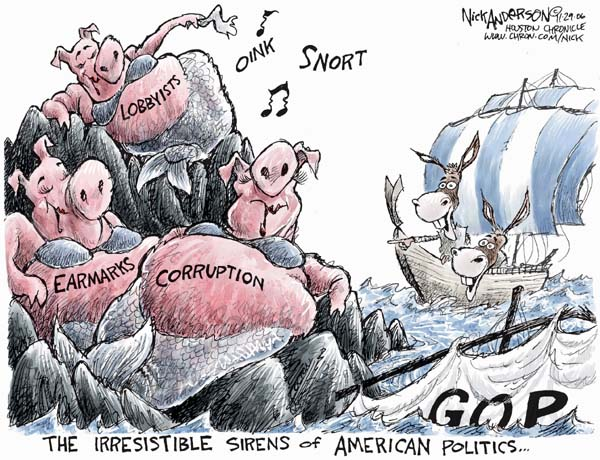 Cartoonist Nick Anderson  Nick Anderson's Editorial Cartoons 2006-11-29 republican politician