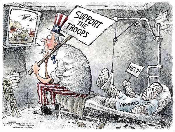 Cartoonist Nick Anderson  Nick Anderson's Editorial Cartoons 2007-02-22 military wounded