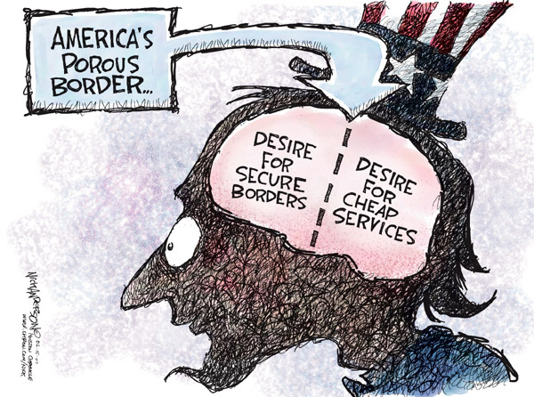 Americas Porous Border.  Desire for secure borders.  Desire for cheaper services.