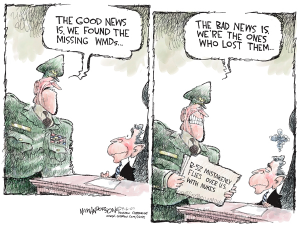Cartoonist Nick Anderson  Nick Anderson's Editorial Cartoons 2007-09-06 nuclear weapon