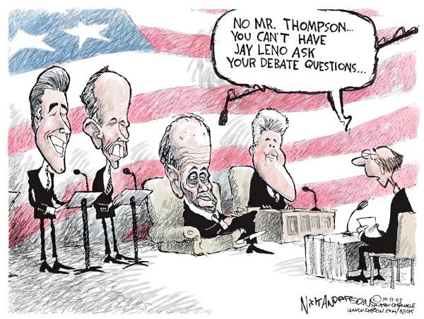 Cartoonist Nick Anderson  Nick Anderson's Editorial Cartoons 2007-10-11 republican debate