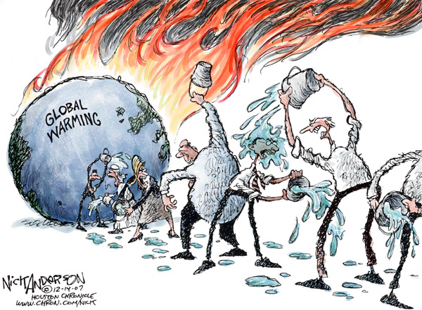 "No caption.  (While the globe burns with ""Global Warming,"" a bucket brigade pours water on itself, not the globe.)"