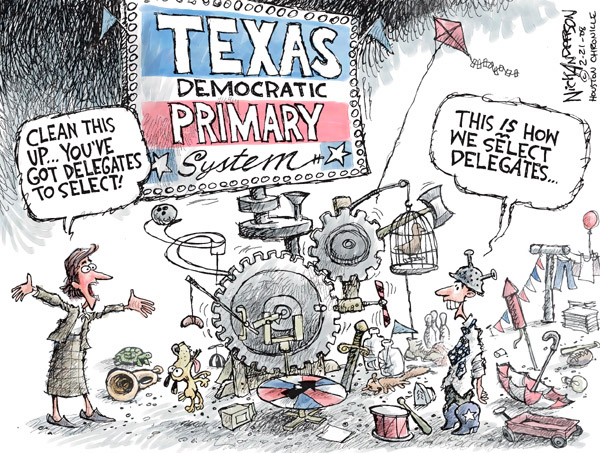 Clean this up … Youve got delegates to select!  Texas Democratic Primary System.  This is how we select delegates.
