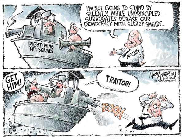 Right-Wing Hit Squads.  Im not going to stand by silently while unprincipled surrogates debase our democracy with sleazy smears.  McCain.  Get him!  Traitor!  Boom!