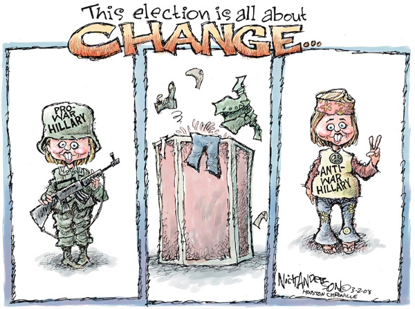 This election is all about CHANGE.  Pro-war Hillary.  Anti-war Hillary.