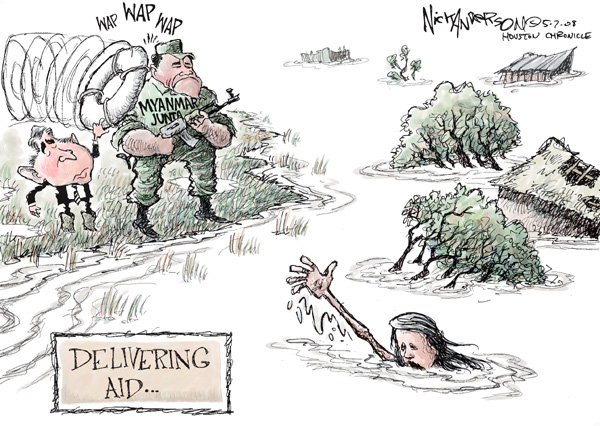 Delivering Aid.  Myanmar Junta.  Wap wap wap.