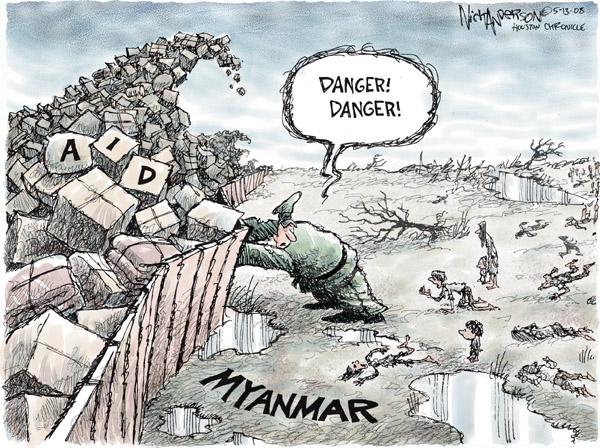 Cartoonist Nick Anderson  Nick Anderson's Editorial Cartoons 2008-05-13 disaster