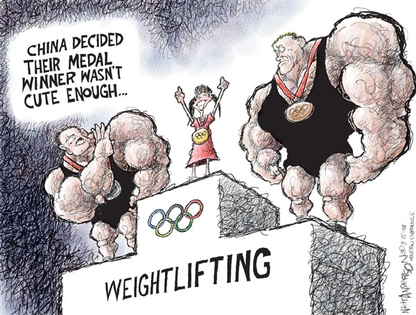 China decided their medal winner wasnt cute enough.  Weightlifting.