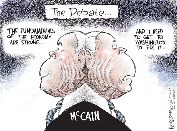 The Debate..The fundamentals of the economy are strong..and I need to get to Washington to fix it..McCain.