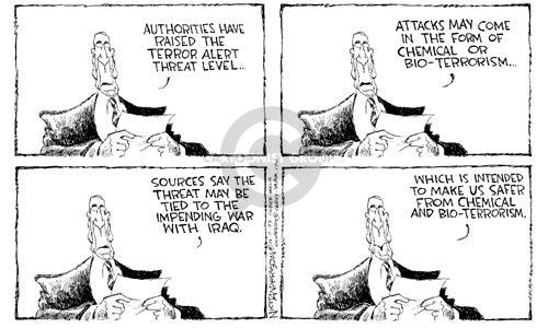 Cartoonist Nick Anderson  Nick Anderson's Editorial Cartoons 2003-02-10 terror threat