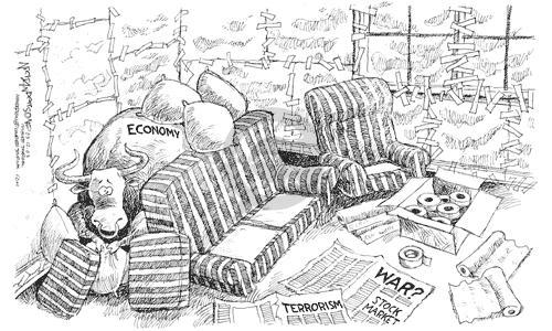 Nick Anderson  Nick Anderson's Editorial Cartoons 2003-03-12 afraid