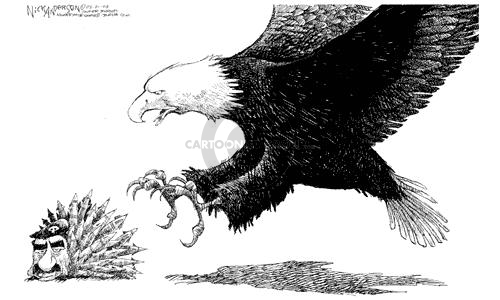(No caption).  An American Bald Eagle swoops to grab Saddam Hussein, represented as a prickly porcupine that has missiles for quills.
