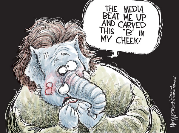 """(Backwards) B.  The media beat me up and carved this """"B"""" in my cheek!"""