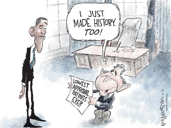 Cartoonist Nick Anderson  Nick Anderson's Editorial Cartoons 2008-11-13 George W. Bush