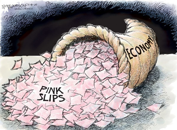 Cartoonist Nick Anderson  Nick Anderson's Editorial Cartoons 2008-11-18 unemployment