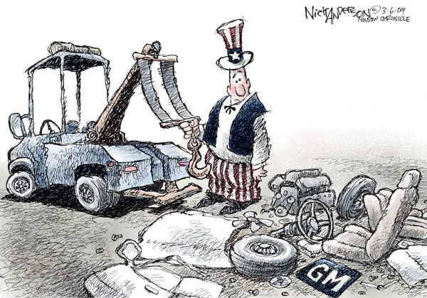 No caption (Uncle Sam attempts to tow the scattered parts of a General Motors car).