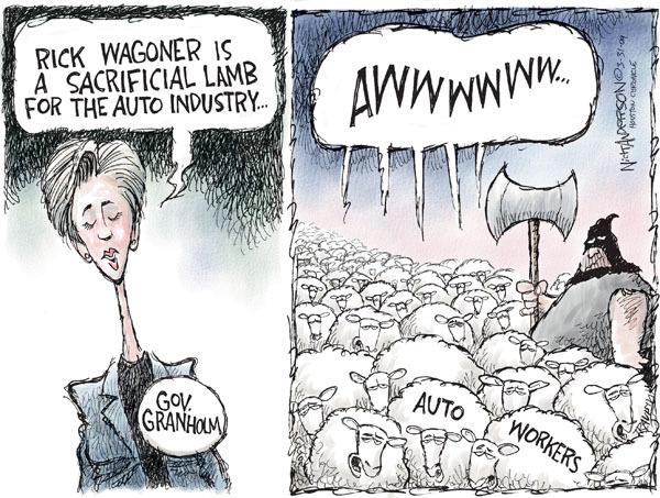 Cartoonist Nick Anderson  Nick Anderson's Editorial Cartoons 2009-03-31 automotive