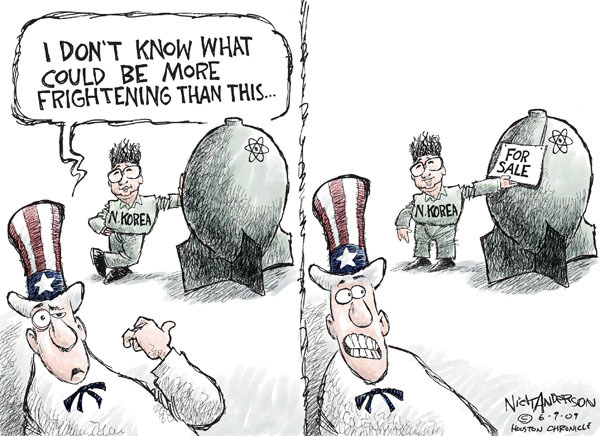 Cartoonist Nick Anderson  Nick Anderson's Editorial Cartoons 2009-06-09 nuclear weapon