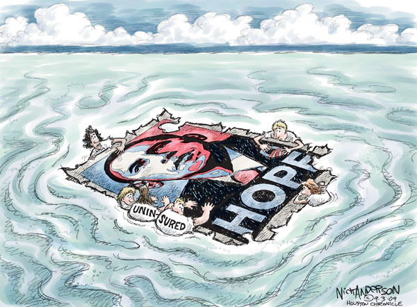 """Uninsured.  Hope.  (In a large body of water, """"uninsured"""" stay afloat by clinging to a """"Hope"""" Obama election poster.)"""