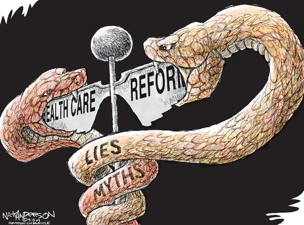 Nick Anderson  Nick Anderson's Editorial Cartoons 2009-09-13 health care reform opposition