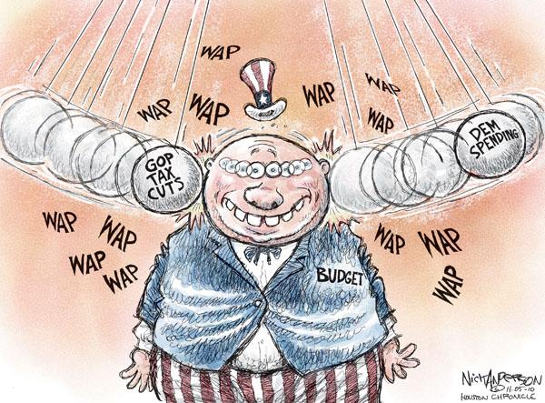 Wap wap wap wap wap.  GOP tax cuts.  Budget.  Dem spending.  Wap wap wap wap wap.
