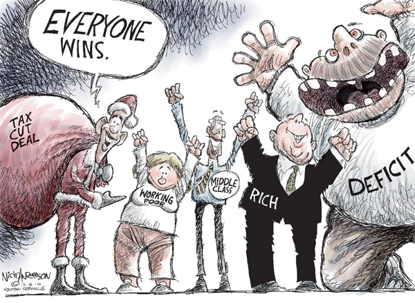 Tax cut deal.  Everyone wins!  Working poor.  Middle class.  Rich.  Deficit.