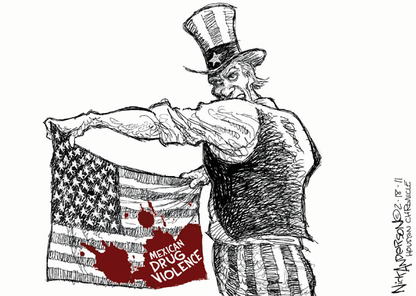 "Mexican drug violence.  (Uncle Sam holds American flag splattered with blood of ""Mexican drug violence."")"