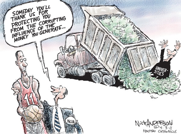 Cartoonist Nick Anderson  Nick Anderson's Editorial Cartoons 2011-04-03 college sports