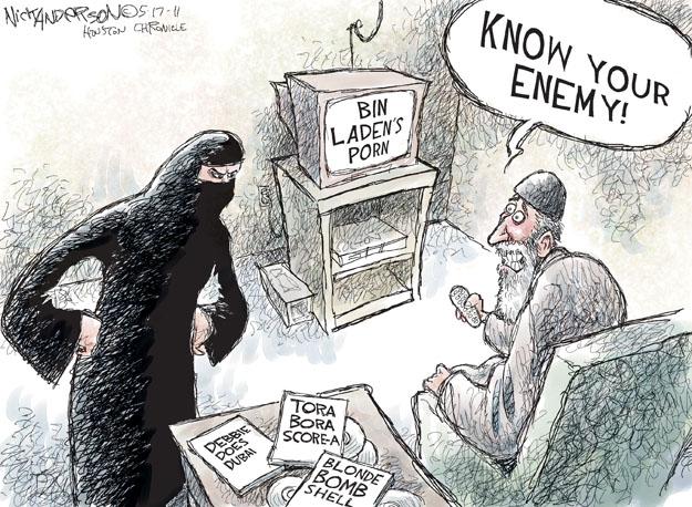 bin Ladens porn.  Know your enemy!  Tora Bora Score-a.  Debbie Does Dubai.  Blonde Bomb Shell.