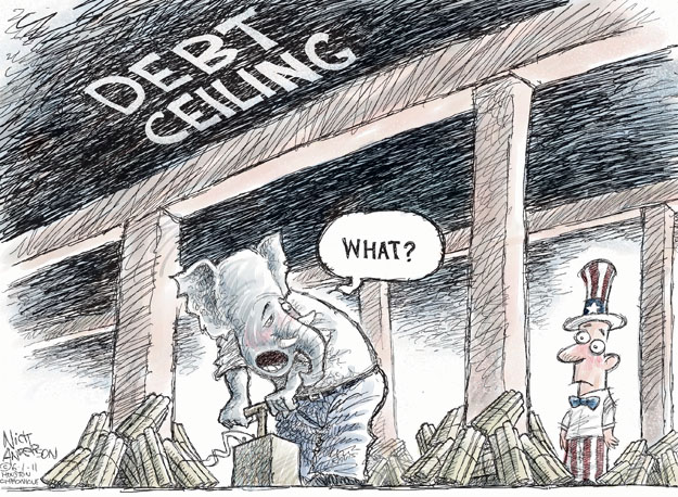 Cartoonist Nick Anderson  Nick Anderson's Editorial Cartoons 2011-06-01 government debt