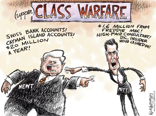 Upper Class Warfare. Swiss bank accounts! Cayman Island Accounts! $20 million a year! $1.6 million from Freddie Mac! High-paid consultant! D.C. insider who cashed in! Newt. Mitt.
