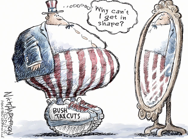 Cartoonist Nick Anderson  Nick Anderson's Editorial Cartoons 2012-05-17 Bush tax cut
