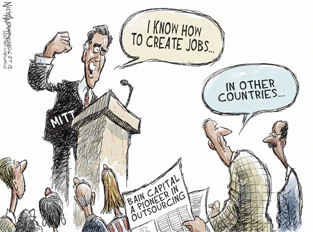 I know how to create jobs … In other countries … Bain Capital a pioneer in outsourcing. Mitt.