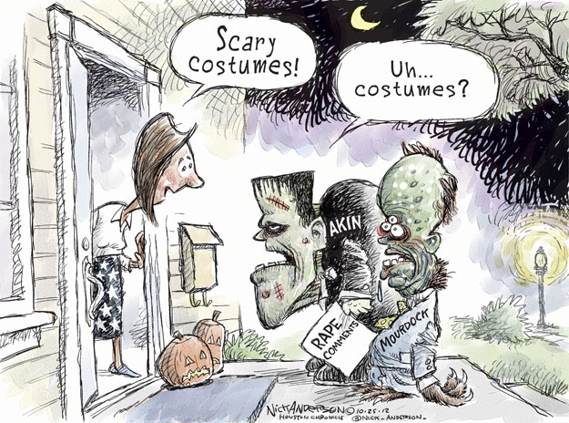 Scary costumes! Uh … Costumes? Akin. Mourdock. Rape Comments.