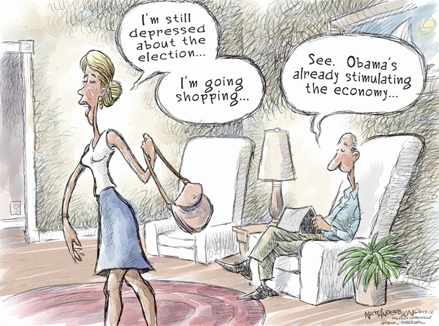 Im still depressed about the election … Im going shopping … See. Obamas already stimulating the economy.
