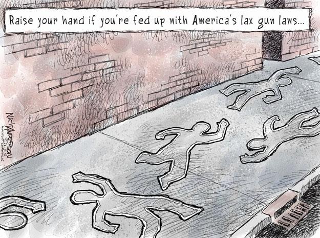 Cartoonist Nick Anderson  Nick Anderson's Editorial Cartoons 2013-01-11 weapon