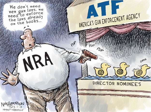 Cartoonist Nick Anderson  Nick Anderson's Editorial Cartoons 2013-03-01 weapon