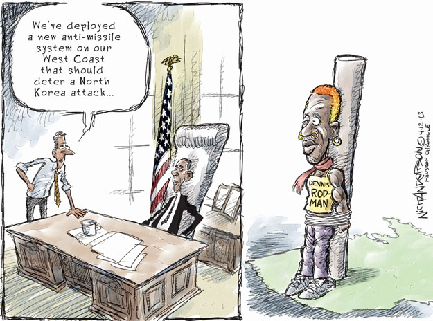 Cartoonist Nick Anderson  Nick Anderson's Editorial Cartoons 2013-04-12 nuclear weapon