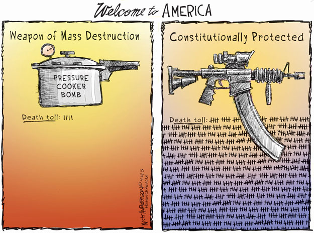 Welcome to America. Weapon of Mass Destruction. Pressure cooker bomb. Death toll: 1111. Constitutionally protected. Death toll: (Multiple tallies).