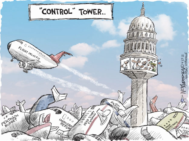 """Control"" Tower � Flight delay fix. Pentagon budget. Immigration reform. Head Start funding. Food inspections. Gun background checks."